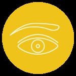 pictogramme représentant un oeil sur fond jaune