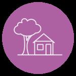 pictogramme représentant une maison et un arbre sur fond violet
