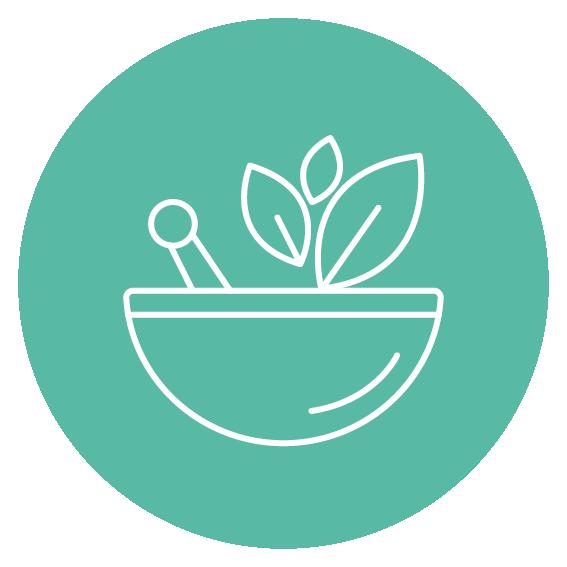 pictogramme blanc représentant un pilon avec des plante sur fond vert- phytothérapies