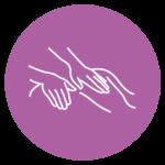 Pictogramme représentant des mains qui massent un dos sur fond violet