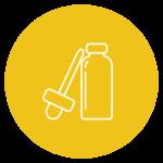 pictogramme représentant un flacon avec une pipette sur fond jaune